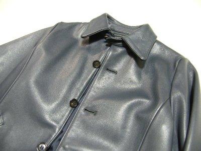 画像3: しっかりした素材感のお洒落な本革ジャケット|MAPLE CREEKS(メイプルクリークス)|牛革ジャケット|ブルー系|サイズ:フリー|USED|レディース