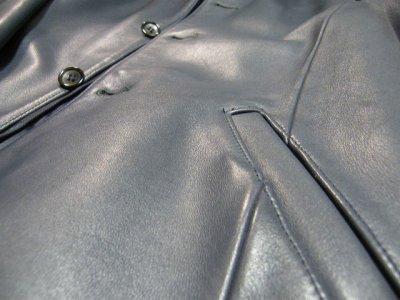 画像2: しっかりした素材感のお洒落な本革ジャケット|MAPLE CREEKS(メイプルクリークス)|牛革ジャケット|ブルー系|サイズ:フリー|USED|レディース