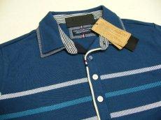 画像6: ディテイルまで素敵な1着!新品|ADMIX アトリエサブ|2枚衿ボーダー柄ブルー系|半袖ポロシャツ|サイズ:M(細身のためS〜Mサイズ相当)|メンズ (6)