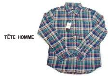 画像1: 風合い&着心地◎アメカジシャツ|新品|TETE HOMME(テットオム)|ヴィンテージ加工 長袖チェック柄ネルシャツ(ブルーグリーン系)|サイズ:M(チェスト:88〜96)| メンズシャツ (1)