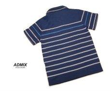 画像2: ディテイルまで素敵な1着!新品|ADMIX アトリエサブ|2枚衿ボーダー柄ブルー系|半袖ポロシャツ|サイズ:M(細身のためS〜Mサイズ相当)|メンズ (2)