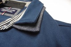 画像5: ディテイルまで素敵な1着!新品|ADMIX アトリエサブ|2枚衿ボーダー柄ブルー系|半袖ポロシャツ|サイズ:M(細身のためS〜Mサイズ相当)|メンズ (5)