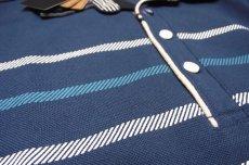 画像8: ディテイルまで素敵な1着!新品|ADMIX アトリエサブ|2枚衿ボーダー柄ブルー系|半袖ポロシャツ|サイズ:M(細身のためS〜Mサイズ相当)|メンズ (8)