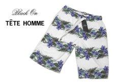画像1: 夏全開のショートパンツ|新品|Black on TETE HOMME(テットオム)|パイルコットン素材|ボタニカル柄ショートパンツ|サイズ:M(ウエスト:70〜74cm)|メンズ (1)