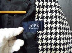 画像8: 上品スタイルで決める!ROPE(ロペ) 千鳥格子柄ベルト付ツイードコート アイボリー×ブラック サイズ:9AT USED 【レディース】 (8)