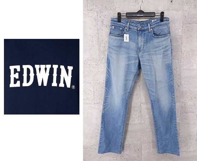 画像1: 【メンズ】EDWIN エドウィン  E STANDARD REGURAR STRAIGHT JEANS DENIM ED03 サイズ:30(ウエスト:82〜84cm)ストレートデニム ハードウォッシュ 日本製 古着 (1)