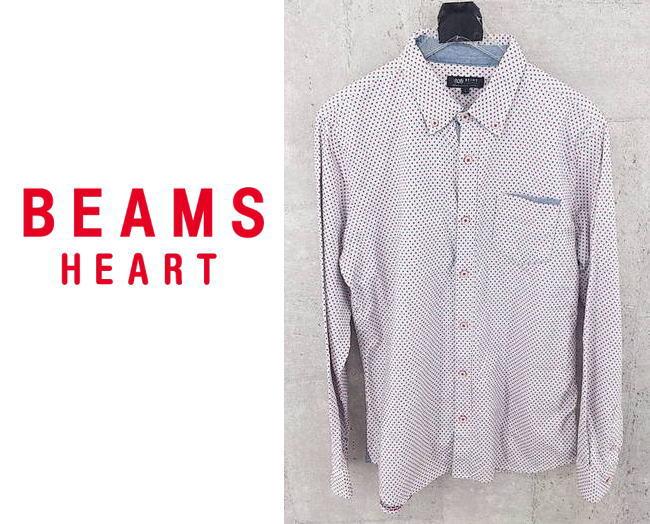 画像1: 可愛いデザインが◎ BEAMS HEART(ビームスハート)ボタンダウン(BD)総柄 長袖シャツ サイズ:L(肩幅:43cm) USED 厚手シャツ (1)