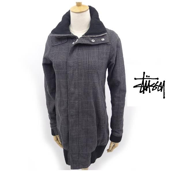 画像1: デザイン&素材感◎|ステューシー(STUSSY)|ロングコットンジャケットコート|サイズ:XSサイズ|USED (1)