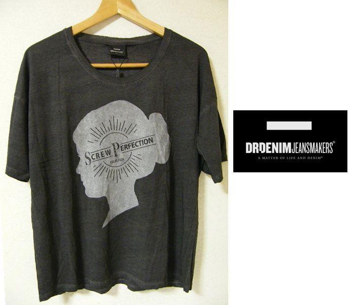 画像1: ダンサー風のTシャツ 新品 Dr.Denim(ドクターデニム) ユーズド加工 「SCREW PERFECTION」ロゴ入り ルーズTシャツ サイズ:Lサイズ程度 レディース (1)