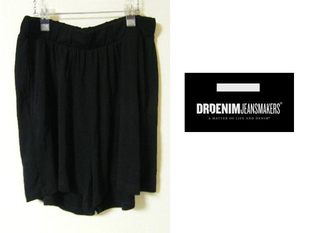 画像1: インド製 新品 Dr.Denim ドクターデニム 綿素材 ニットショート ゴム入りブラックパンツ【Lサイズ程度:ウエスト73cm】 (1)