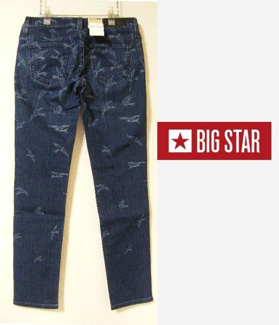 画像1: 新品(メキシコ製) BIG STAR  バード柄デニムブルースキニーパンツ【ウエスト:73cm/日本サイズ:15号(L)】 (1)