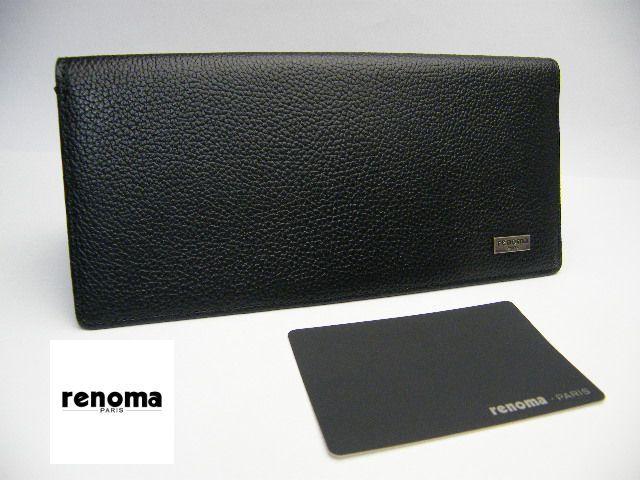 画像1: 【新品】 renoma PARIS レノマ 新品 牛革 レザー 長財布 ウォレット 黒 (1)