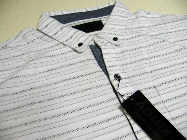 画像1: ゴルフにスポーツに! 新品 ADMIX アトリエサブ ジャガードボーダーボタンダウンBD ホワイトポロシャツ Lサイズ相当(肩幅48cm) (1)