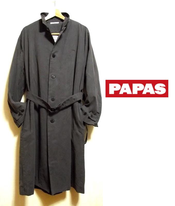 画像1: ライナーの着脱OK パパス PAPAS モールスキン調 ロングコート サイズ48(M・肩幅:52)【USED】 (1)