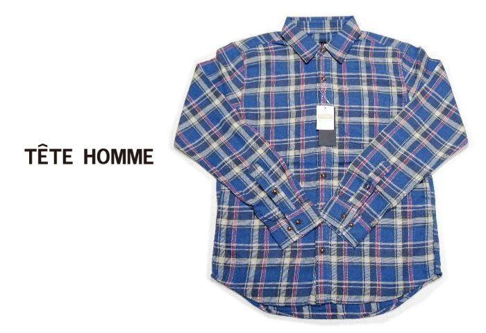 画像1: 風合い&着心地◎アメカジシャツ|新品|TETE HOMME(テットオム)|ヴィンテージ加工 長袖チェック柄ネルシャツ(ブルー&レッド系)|サイズ:M(チェスト:88〜96)| メンズシャツ (1)