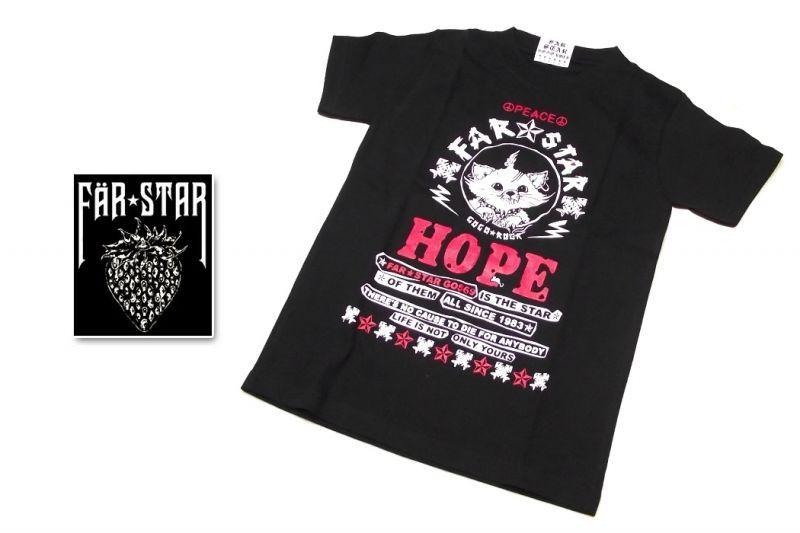 画像1: 小柄な女性向き|激レアロックTシャツ|FAR★STAR|新品|HOPE(ネコちゃん・レッド)デザインTシャツ(ブラック)|サイズ:SSサイズ程度) (1)