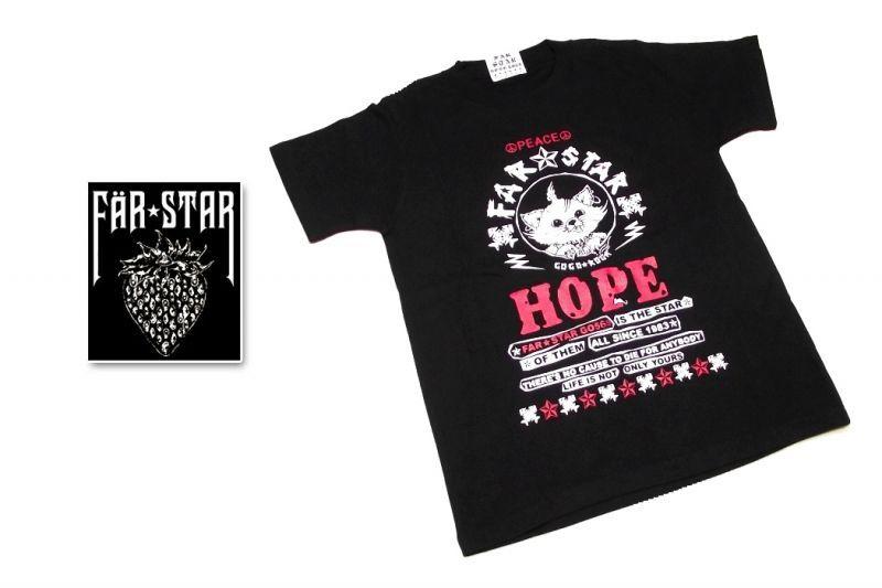 画像1: 激レアロックTシャツ|FAR★STAR|新品|HOPE&PEACE ネコちゃんロゴデザインTシャツ(ブラック|レッドタイプ)|サイズ:0(Sサイズ程度) (1)