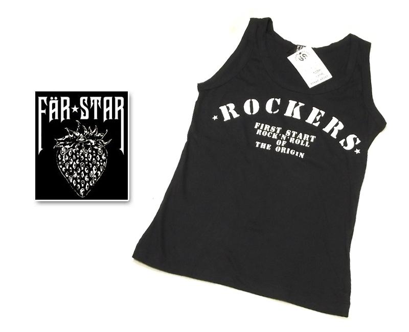 画像1: フェス&ライブで着て欲しい! FAR★STAR 新品 ROCKERSロゴ入りデザインタンクトップ(ブラック) サイズ:1(Mサイズ程度) (1)