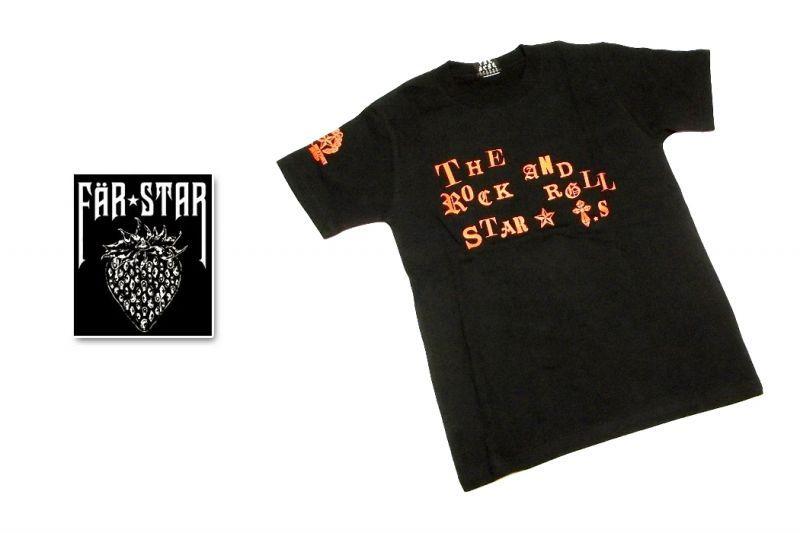 画像1: 激レアロックTシャツ|FAR★STAR|新品|ゴールドクラウンドクロ&ロゴデザインTシャツ(ブラック)|サイズ:0(Sサイズ程度) (1)