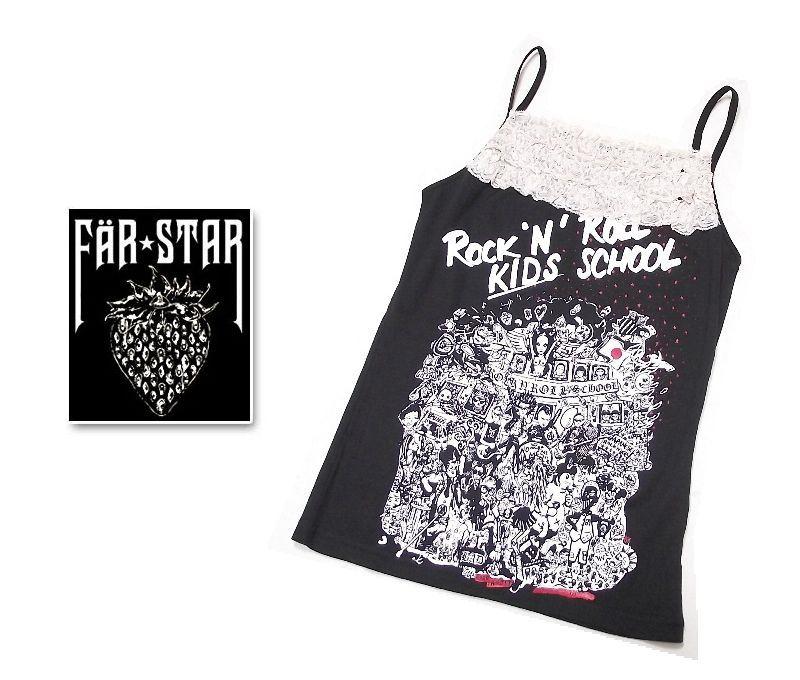 画像1: ピンク花柄レース付きトップスキャミ|FAR★STAR|新品|ROCKERSロゴ入りデザインキャミソール(ブラック|ピンクレース)|サイズ:1(Mサイズ程度)|T-PINK (1)
