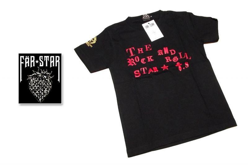 画像1: 小柄な女性向き|激レアロックTシャツ|FAR★STAR|新品|ロゴ&ゴールドクラウンドクロ(ロゴ:レッド)デザインTシャツ(ブラック)|サイズ:SSサイズ程度) (1)