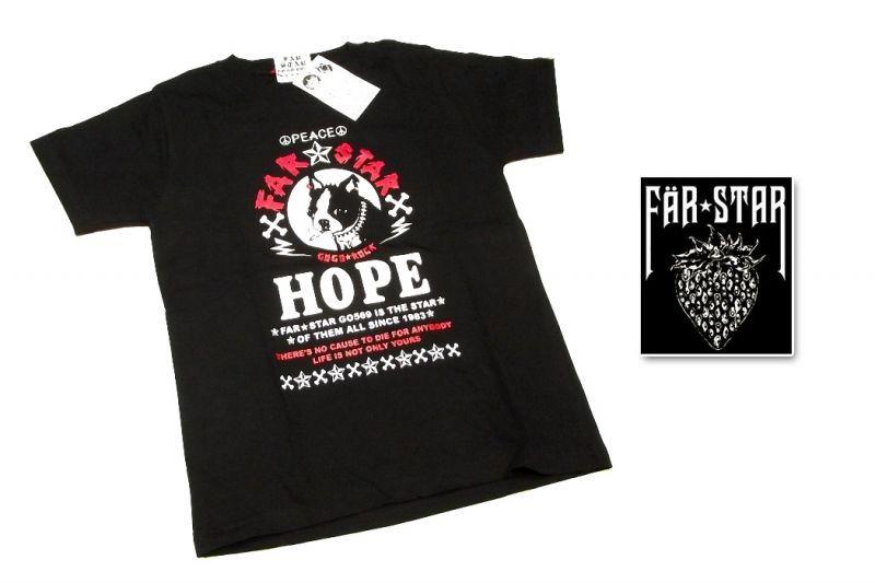 画像1: 激レアロックTシャツ|FAR★STAR|新品|HOPE&PEACE ワンちゃんロゴデザインTシャツ(ブラック|レッドタイプ)|サイズ:0(Sサイズ程度) (1)