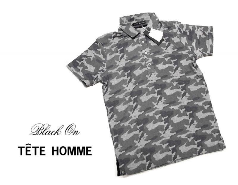 画像1: パイル生地が◎ 新品 BLACK ON TETE HOMME(テットオム) 迷彩柄グレー系半袖ポロシャツ サイズ:M(細身の作りのためS〜M程度) メンズ (1)
