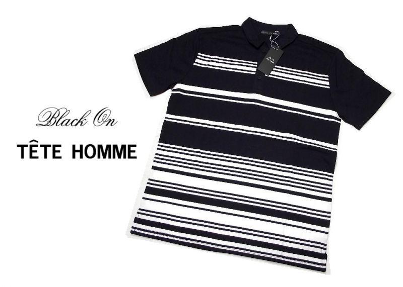 画像1: 基本のネイビーポロシャツ|新品|BLACK ON TETE HOMME(テットオム)|ストライプ入りネイビー系半袖ポロシャツ|サイズ:L(細身の作りのためM〜L程度)|メンズ (1)