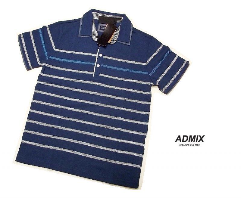 画像1: ディテイルまで素敵な1着!新品|ADMIX アトリエサブ|2枚衿ボーダー柄ブルー系|半袖ポロシャツ|サイズ:M(細身のためS〜Mサイズ相当)|メンズ (1)