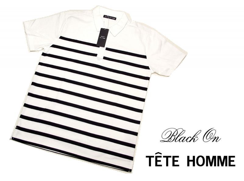 画像1: 基本のホワイト&ストライプ|新品|BLACK ON TETE HOMME(テットオム)|ホワイト&ブラック系半袖ポロシャツ|サイズ:L(細身の作りのためM〜L程度)|メンズ (1)