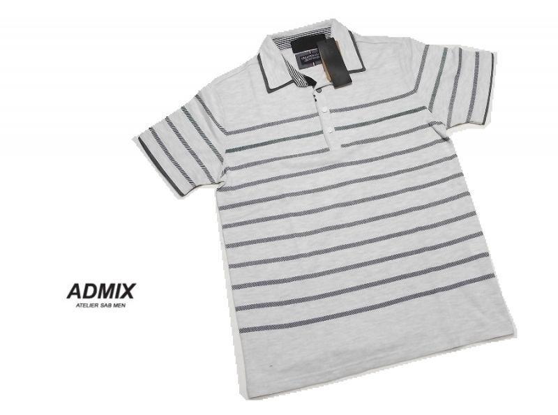 画像1: クールビズにも◎|ディテイルのお洒落なポロシャツ|新品|ADMIX アトリエサブ|2枚衿ボーダー柄ブルー系|半袖ポロシャツ|サイズ:L(細身のためM〜Lサイズ相当)|メンズ  (1)