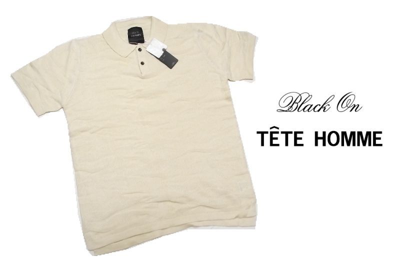 画像1: シワにならないお洒落なポロシャツ|新品|BLACK ON TETE HOMME(テットオム)|アイボリーカジュアルポロシャツ|サイズ:M(細身のためS〜M程度)|メンズ (1)