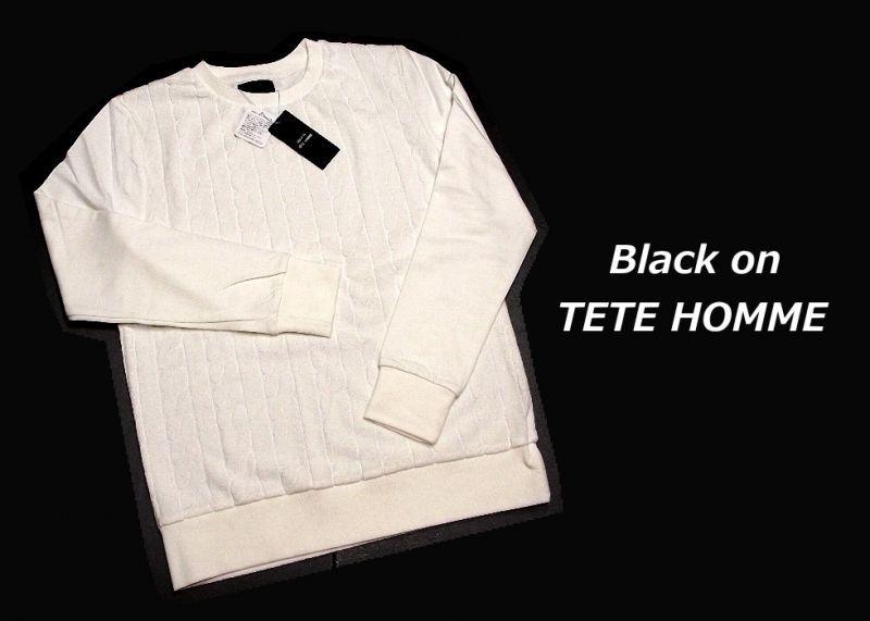 画像1: お洒落なデザインが◎|Black on テットオム |パイルケーブル柄ホワイト長袖カットソー(薄手トレーナー)|サイズ:M |メンズ (1)