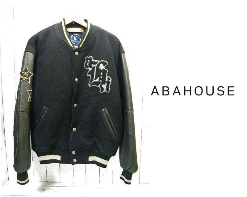 画像1: 激レア ヴィンテージ|アバハウス|abahouse|袖革中綿入りスタジアムジャンバー|USED|ブラック黒|フリーサイズ|VINTAGE (1)