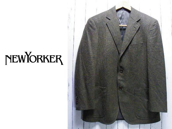 画像1: 季節の変わり目に◎ NEW YORKER(ニューヨーカー) ツイード調ウールテーラードジャケット|緑グリーン系|サイズ:YA5 (肩幅:45cm)USED古着 (1)