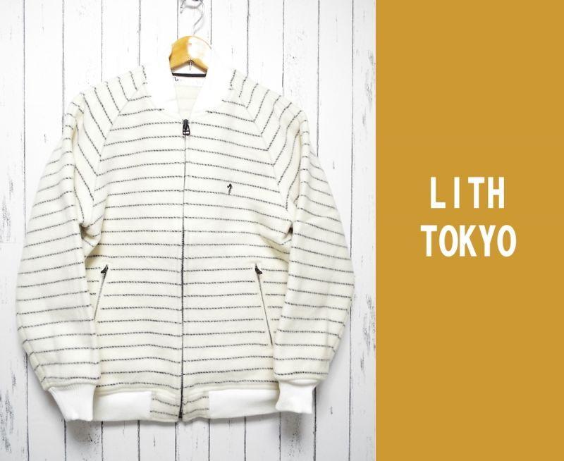 画像1: カワイイ&カッコイイ!LITH TOKYO(リズトウキョウ)SINC+ 起毛ウール混ボーダージップジャケット|オフホワイト|サイズ:M〜L程度(ラグラン袖) (1)