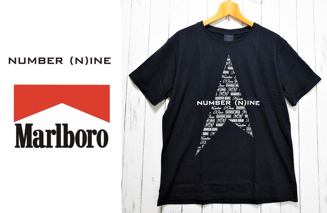 画像1: 送料安|非売品|未使用|Marlboro×Number (N)ine|マルボロ×ナンバーナインコラボ限定Tシャツ |サイズ:フリー|ネイビー系|キャンペーン景品 (1)