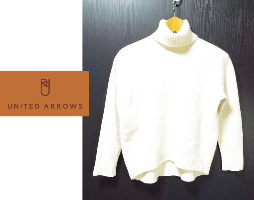画像1: カシミア入りのベーシックスタイル!UNITED ARROWS(ユナイテッドアローズ) カシミア入りウール タートルネックセーター|サイズ:フリー(肩幅:42.5cm・身幅51.5cm)USED【レディース】 (1)