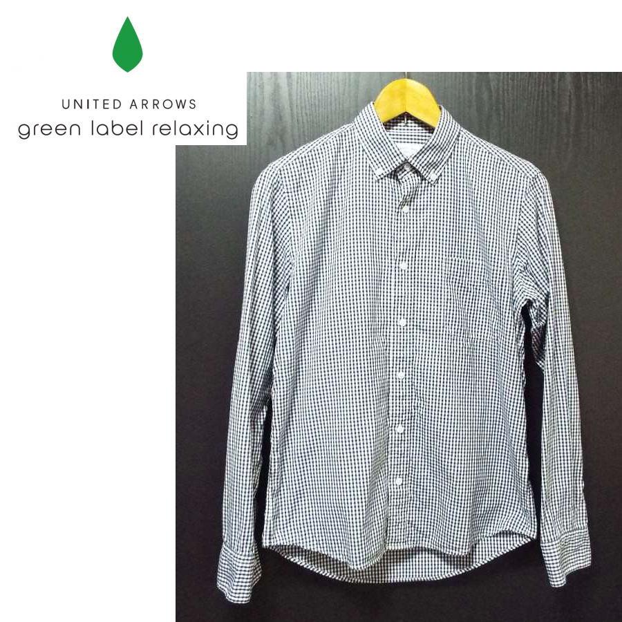 画像1: 基本のギンガムチェック!green label relaxing(グリーンレーベルリラクシング)チェック柄  ボタンダウンBD 長袖 シャツ|サイズ:M(肩幅:43cm)USED【メンズ】 (1)