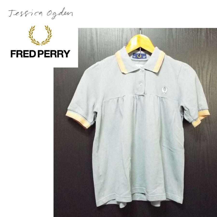画像1: 入手困難な1着!フレッドペリー(FRED PERRY)× ジェシカオグデン(Jessica ogden)ワンポイント入り 鹿の子ポロシャツ|サイズ:USA 6 UK 10 EUR 36|ブルーグレー系|USED【レディース】 (1)