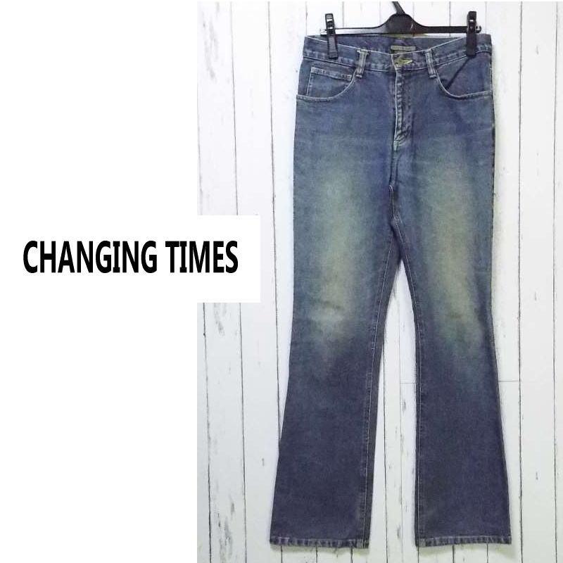 画像1: 色落ち感&薄手の履きやすい1本!CHANGING TIMES(スクープ扱い)ストレートデニムジーンズ|サイズ:M(ウエスト:76cm)|USED|古着|ダメージデニム (1)