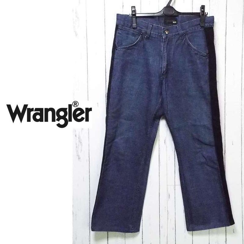 画像1: 他人違うデニムで差を付けろ!Wrangler own(ラングラー オウン)サイドデザイン付きジップアップ ブルーデニム(ジーンズ)|サイズ:M(ウエスト:84cm)|USED|ボタンタイプ|太めのデニムパンツ【メンズ】  (1)