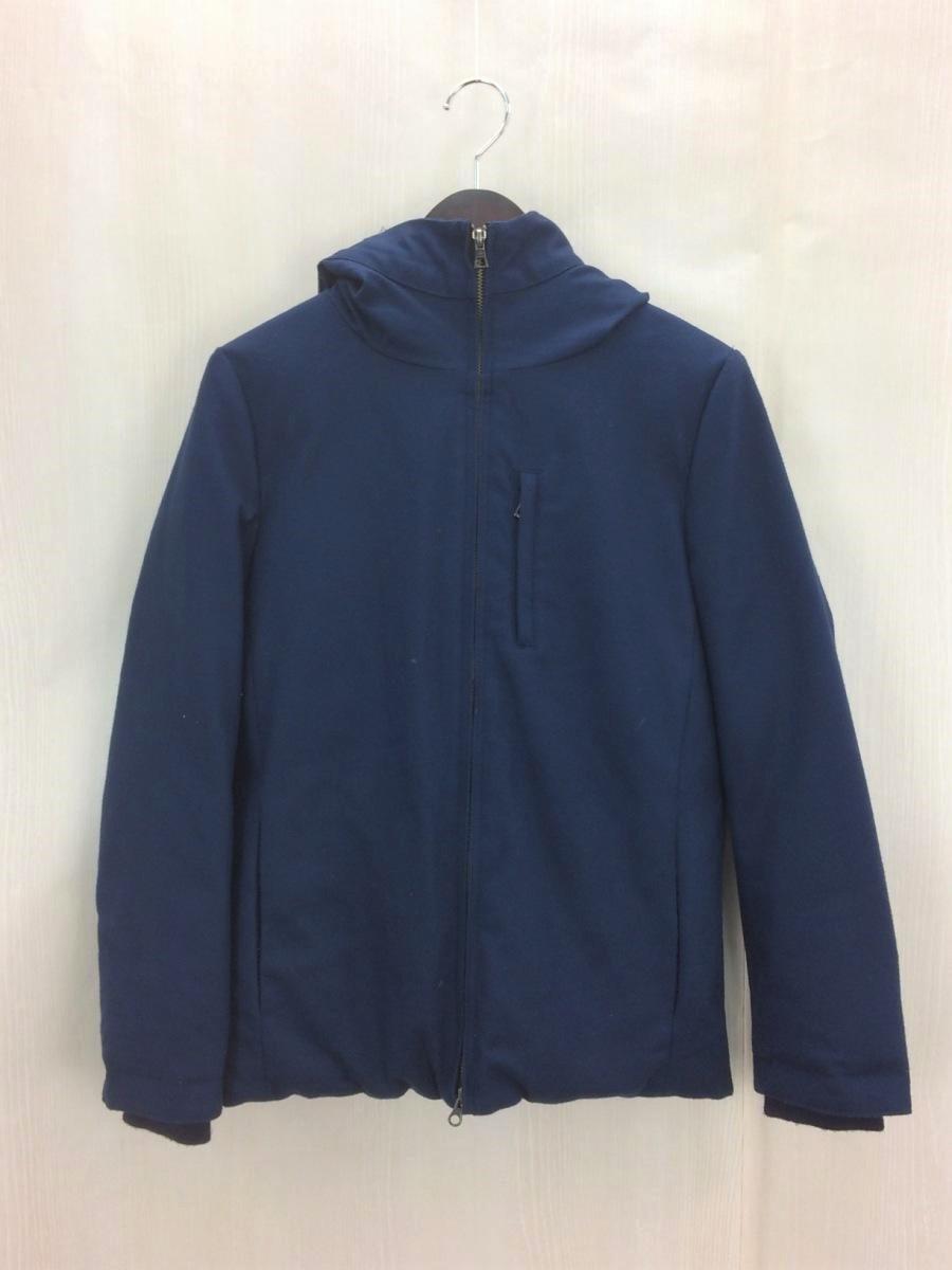 画像1: 当店オーナーのおすすめ|STUDIOUS(ステュディオス) ウールフーデッドダウンジャケット(コート)ネイビーブルー系|サイズ: 1 |ダウン80%|USED|メンズ (1)