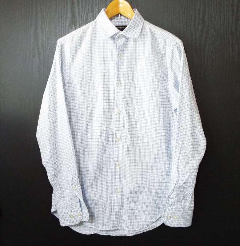 画像1: 【メンズシャツ特集】スリランカ製 BANANA REPUBLIC(バナナリパブリック)グラフチェック柄 長袖シャツ SLIM FIT ブルー系 サイズ:S(14-14 1/2) USED スリムフィット (1)