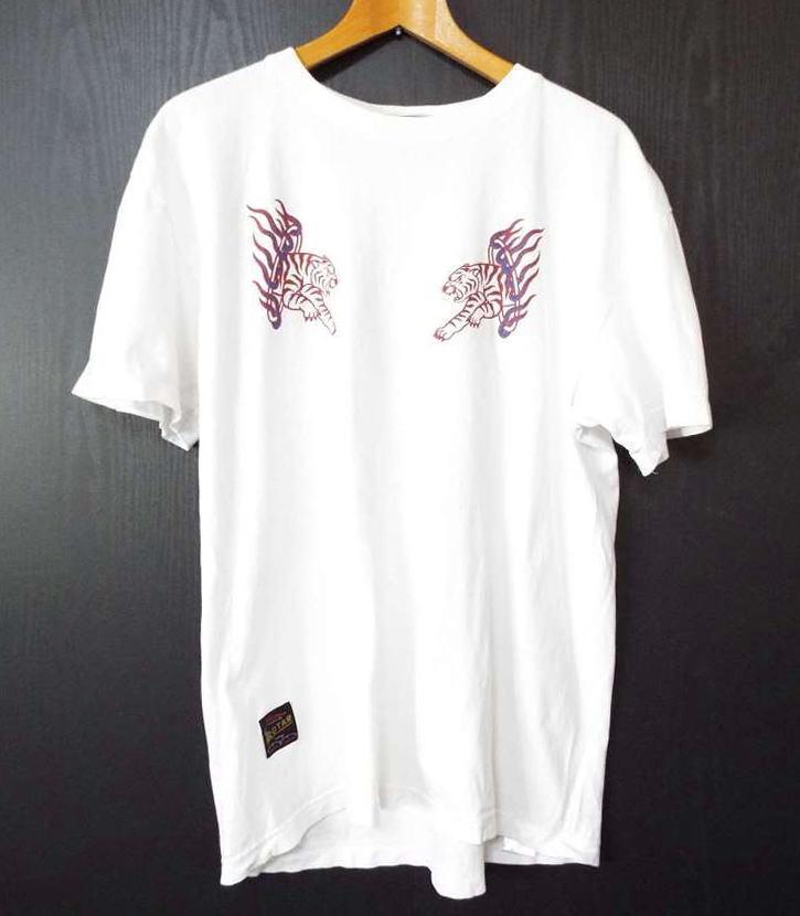 画像1: 虎のイラストが◎ ROTAR(ローター) 半袖 Tシャツ カットソー| ホワイト系|ユニセックス|メンズ (1)