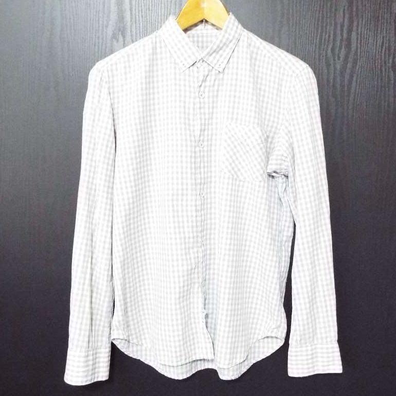 画像1: 【メンズシャツ特集】薄手で肌触りも◎ nonnative(ノンネイティブ)ギンガムチェック柄 ボタンダウン(BD)長袖シャツ ホワイト・グレー系|サイズ:1|USED|古着男子 (1)