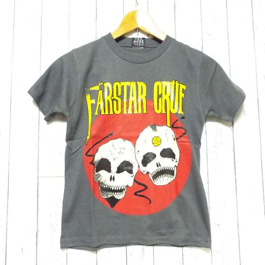 画像1: 【激レアブランドのロックTシャツ】FAR★STAR(ファースター)|ガイコツ(スカル)柄 デザインTシャツ(グレー)|サイズ:0(Sサイズ程度)|美USED (1)
