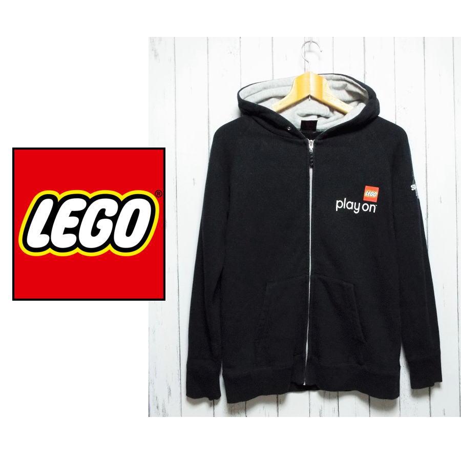 画像1: レゴブロック好きな方へ|LEGO(レゴ)長袖ジップアッププルオーバー(パーカー)|サイズ:M(裄丈:74cm)|ブラック系|USED (1)