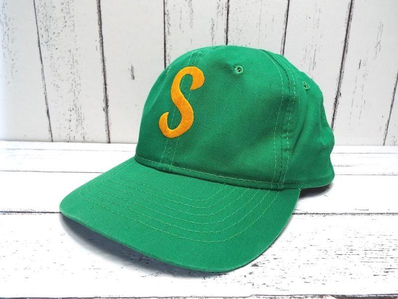 画像1: 【アメリカより仕入】ヴィンテージ|Youngan Hat|Sロゴキャップ|グリーン系|頭囲:54〜58cm|古着 (1)