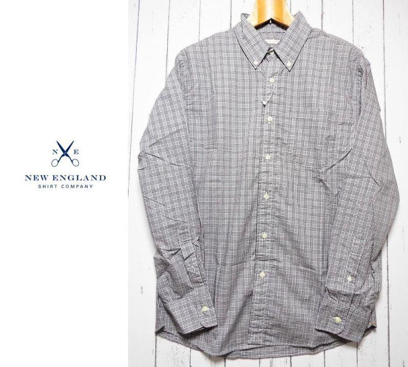 画像1: 創業1830年【新品/メンズ】アメリカ製 New England Shirt Company(ニューイングランドシャツカンパニー)ボタンダウンBD グレー・ブラック・ホワイトギンガムチェック柄 長袖シャツ|サイズ:M(M〜L相当・肩幅:47cm) (1)